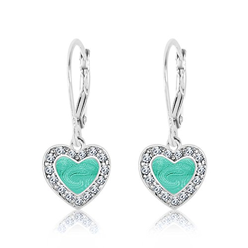 Kids Earrings - 925 Sterling Silver with a White Gold Tone Mint Green Enamel Heart with Surrounding Crystals Leverback Earrings MADE WITH SWAROVSKI ELEMENTS Kids, Children, Girls, (Child Kid Earring)