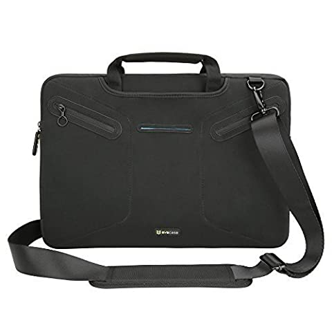 Evecase Multi-functional Carrying Messenger Case with Handle and Shoulder Strap for 15 - 15.6inch Laptops - Black