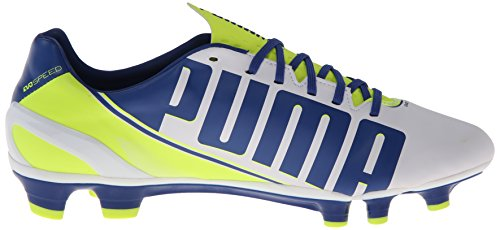PUMA Women's Evo Speed 3.3 Firm Ground Soccer Shoe,White/Snorkel Blue/Fluorescent Yellow,8 B US by PUMA (Image #7)