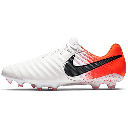 Nike Men's Legend 7 Elite FG Soccer Cleat (Sz. 10.5) White, Black, Hyper Crimson