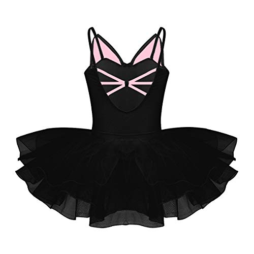 YiZYiF Kids Girl's Camisole Ballet Tutu Dress Up Leotard Dancewear Costumes (9-10, Black Cutie Cat) ()