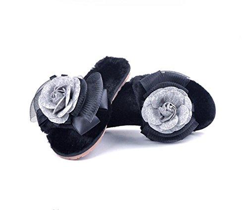 Zapatillas Zapatillas Negro Zapatos Sole Plush Inicio Invierno Mujeres caseros Antideslizante Interior Inicio Cálido DANDANJIE Negro Tendón Exterior Gris Rosa HwSzz