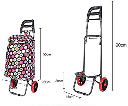 IG Escalera doméstica Escalera Carro de compra, Carro de equipaje de gran capacidad Rueda plegable Rueda de empuje Carretilla, Ir de excursión y de compras: Amazon.es: Bricolaje y herramientas