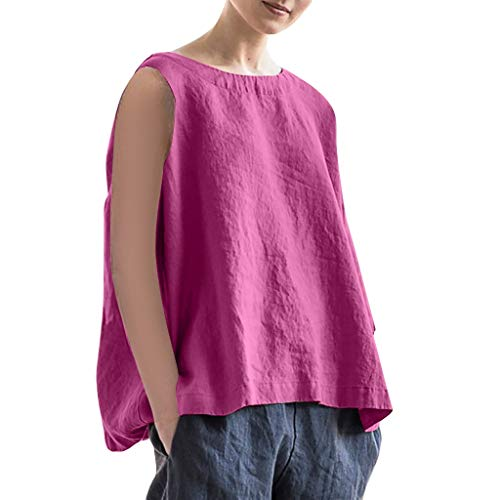 SUNyongsh Women O-Neck Solid Tank Casual Loose Sleeveless Blouse Vest Summer Linen Tank Tops 'A' Skirt Hi-Low Hem Hot Pink ()