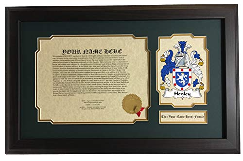 (Henley - Coat of Arms and Last Name History, 14x22 Inches Matted and Framed)