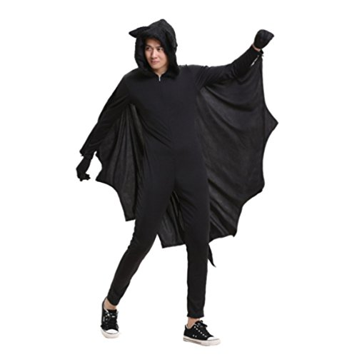 [Honeystore Men's Bat Adult Halloween Party Animal Costume Cosplay, Height 160-170 cm] (Male Adult Costumes Ideas)