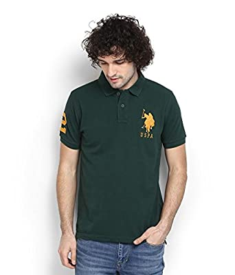 e69e35a861 U.S. Polo Assn. Men's Comfort Soft Cotton Plain Polo Collar Half Sleeve T- Shirt With Trekking Green Color