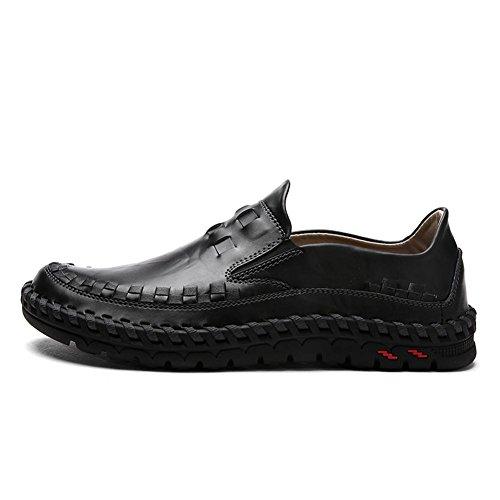 Hombres Oxford Cuero Casual Mocasines Ponerse Hecho a mano Cómodo Moda Pisos Negro marrón Conducción Zapatos Negocio Black