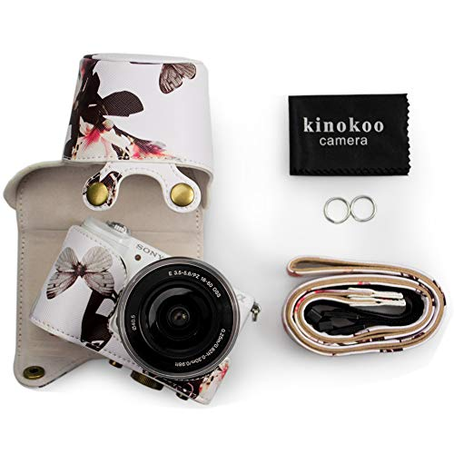 kinokoo PU Leather Camera Case Flowers Pattern Tailored for Sony A5000 A5100 NEX-3N and Specialized for 16-50mm Lens(White)