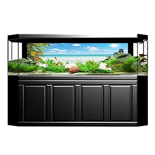 (UHOO2018 Aquarium Sticker Collection Dreamy Caribbean Beach with Crystal Clear Water Sky and Palm Leaves Away Fish Tank Backdrop Static Cling 35.4
