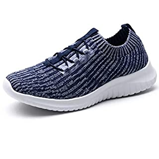LANCROP Women's Athletic Walking Shoes - Casual Knit Lightweight Running Slip On Sneakers 7.5 US, Label 38 Navy