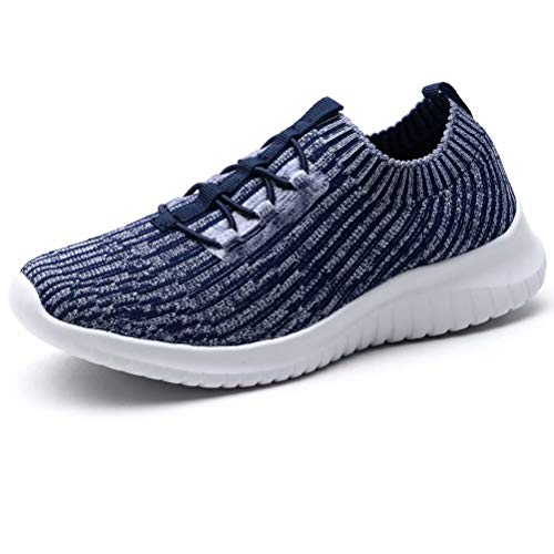 LANCROP Women's Athletic Walking Shoes - Casual Knit Lightweight Running Slip On Sneakers