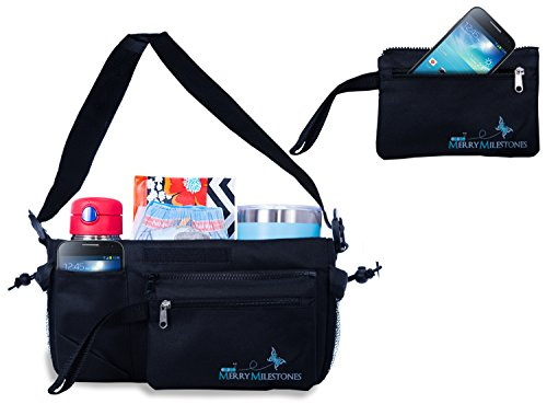 Stroller Organizer Bag with Detachable Wristlet and Extra-Large Insulated Cup Holders, Parent Storage for Smart Mom Accessories- Phone, Keys, Cards, Diapers, Perfect Baby Shower Gift by Merry Milestones (Image #4)