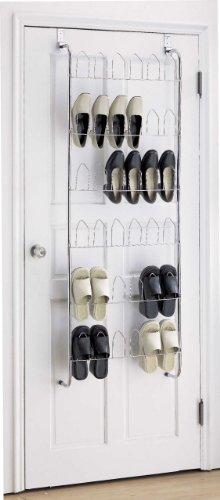18 Pair Chrome Over The Door Hanging Shoe Rack Storage Organiser