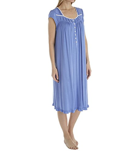 Eileen West Women's Plus Size Modal Waltz Nightgown Solid Dark Delphinium