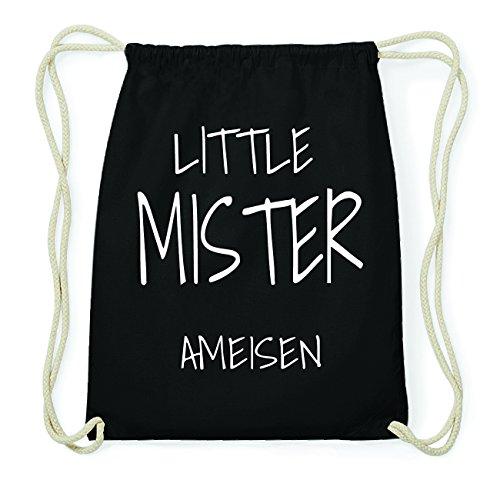 JOllify AMEISEN Hipster Turnbeutel Tasche Rucksack aus Baumwolle - Farbe: schwarz Design: Little Mister