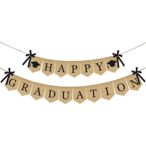 Burlap Happy Graduation Banner | Rustic Vintage Graduation Decorations | Perfect for Graduation Party Supplies 2019 | Grad Party Decor for Home, College, Senior, High School Prom -