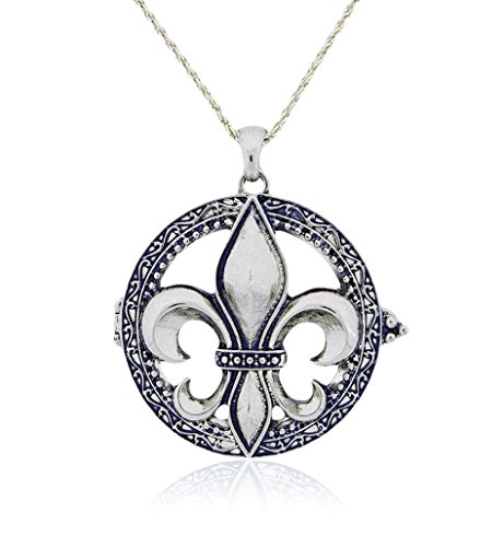 Fleur De Lis Magnifier Magnifying Glass Sliding Top Magnet Pendant Necklace, 30