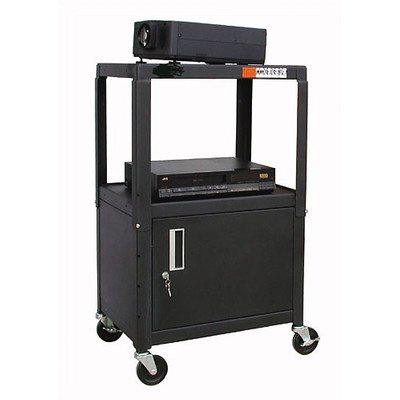 HamiltonBuhl Steel Cart, Adjustable 26'' to 42'' with Locking Security Cabinet and Electric