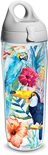 Tervis Parrots And Pineapples Wrap Clear Inner Water Bottle with Grey Lid, 24 oz ()