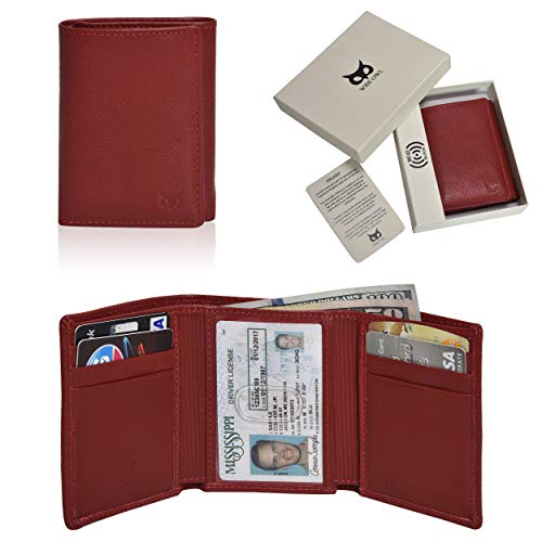 WISE OWL Men's Trifold Leather Wallets Slim - Wallet Billfold With ID Window RFID Blocking Box Holiday Gifts Red ()