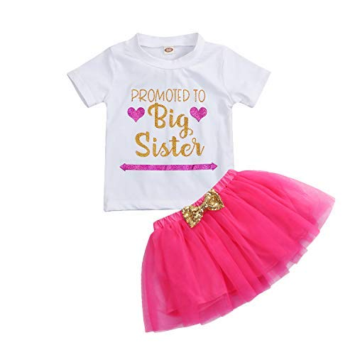 Kids Toddler Baby Girls Dress Outfit Big Sister Short Sleeve T-Shirt Top+Bowknot Tutu Skirt Summer Clothes Set