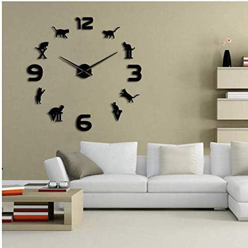 Qwerlp Números Árabes Romanos Mixtos DIY Reloj De Pared Grande Gatito Gato Silueta Arte De La Pared Reloj De Pared Gigante Diseño Moderno Decoración del Hogar Reloj 27Inch: Amazon.es: Hogar
