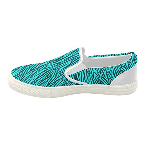 D-story Custom Strisce Zebrate Turchesi Da Donna Slip On Canvas Shoes (modello 019)
