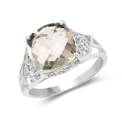 3.30 Carat Genuine Green Amethyst & White Topaz .925 Sterling Silver Ring