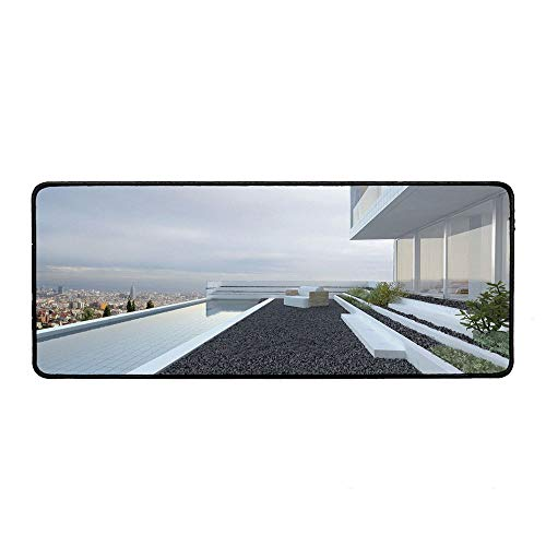 Modern Decor Office Mouse Pad,Contemporary Luxury House with Panoramic View Patio Pebbles Pool for Office Computer Desk,15.75''Wx35.43''Lx0.12''H