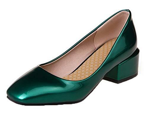 GMMDB006333 AgooLar Tirare Verde Ballet Tacco Medio Puro Donna Flats FFwpqB0