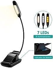 TOPELEK Luz de Lectura Recargable con 60H de Autonomía, Lampara Lectura 7 LEDs con 3 Brillos y 3 Colores de Luz, Gran Área de Alumbrado y Cuello 360º Flexible para Cama, Libro, E-book, Tablet y PC
