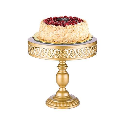 18K Gold Antique Metal Cake Stand Round Cupcake Stands Wedding Birthday Party Dessert Cupcake Pedestal/Display/Plate 18K Gold Heartshaped Decor 0112quot