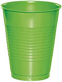 Creative Converting 28312381 Touch of Color Premium Plastic Cups Party Supplies, 16oz, Fresh Lime