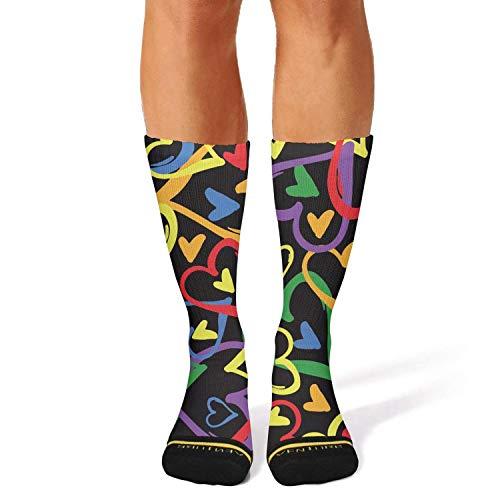 Milr Gile Unisex Colorful Gay Pride Love Crew Tube Socks Crazy Novelty Socks High Athletic Socks
