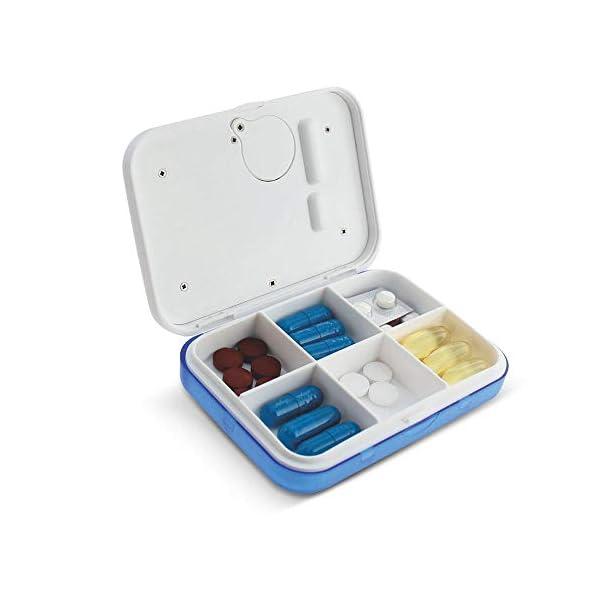 KOBWA - Caja de almacenamiento para pastillas de medicina, digital, ligera, con 5 alarmas de temporizador, pastillero de… 8
