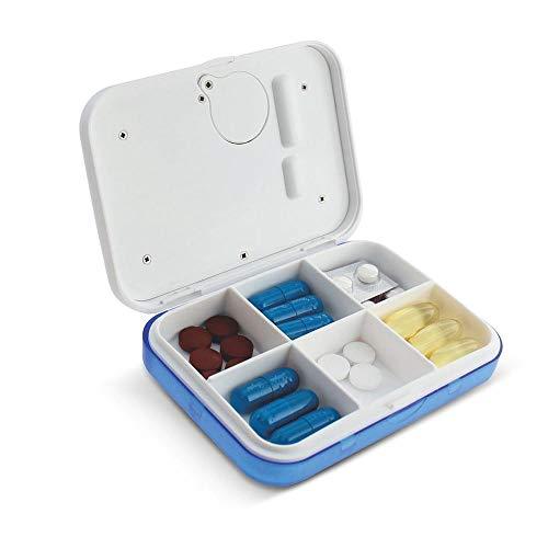 KOBWA - Caja de almacenamiento para pastillas de medicina, digital, ligera, con 5 alarmas de temporizador, pastillero de viaje 7