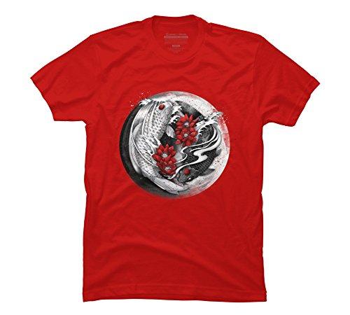 Design By Humans Balance [Yin-yang koi] Men's Small Red Graphic T Shirt ()