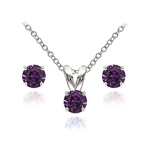 (GemStar USA Sterling Silver Solitaire Purple Necklace Stud Earrings Set Created Swarovski Crystals)