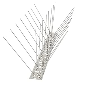 Bird Blinder Stainless Steel Bird Spikes for Pigeons and Other Small Birds – Industrial 4″ Wide Design Contains no Plastic – (11 Foot Coverage)