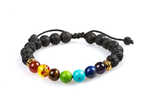 Yoga Mala Bracelet (7 Chakra Healing Bracelet with Stones, Volcanic Lava, Mala Meditation Bracelet - Men's and Women's Religious Jewelry - Wrap, Stretch, Charm Bracelets … (Adjustable Chakra))