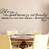 Kitchen Wall Stickers Home Decor, Dining & Cooking Quote Decal Heart Removable Vinyl Art Decoration (Bless The Food Before Us, The Family Beside Us, and The Love Between Us, Amen)