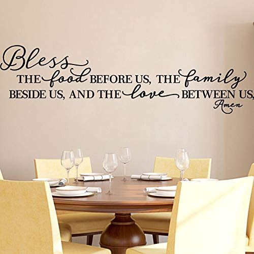 Kitchen Wall Stickers Home Decor, Dining & Cooking Quote Decal Heart Removable Vinyl Art Decoration (Bless The Food Before Us, The Family Beside Us, and The Love Between Us, Amen) (Wall Stickers Home Decor)