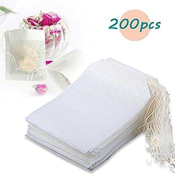 Thiroom 200pcs Disposable Filter Empty Teabags Drawstring Herb Loose Tea bag