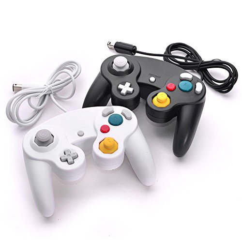 2X Brand New Wired Controller for Nintendo GameCube GC Wii Black & (Midway Arcade Ps3)