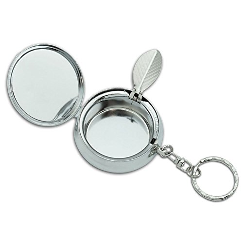 Personalized Custom Portable Travel Size Pocket Purse Ashtray Stainless Steel Circular Keychain with Cigarette Holder Case (Abstract Aesthetic Elephant) by Pamee Chaman (Image #1)