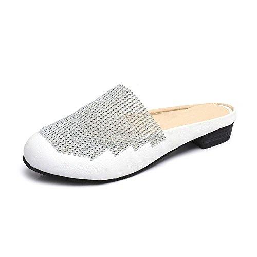 Heart&M Redonda de la manera del dedo del pie talón bajo del talón del cuadrado de las mujeres del Rhinestone Mosaico Negro / blanco sandalias de los deslizadores White