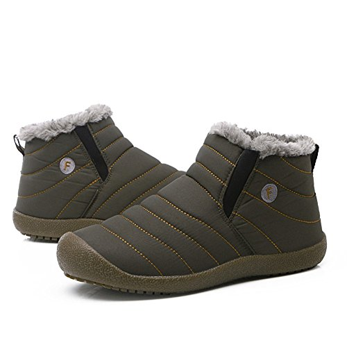 Go Tour Slip On Snow Boots For Men Women,Anti-Slip Lightweight Ankle Bootie With Fully Fur Foliage Green