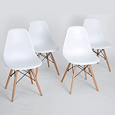 Set of 4 Eames Eiffel DSW Style Side Dining Chair, ELERANBE 18  Height Armless Accent Chairs with Eiffel Natural Walnut Wood Base Legs, for Dining Room Waiting Room Bedroom Kitchen - White