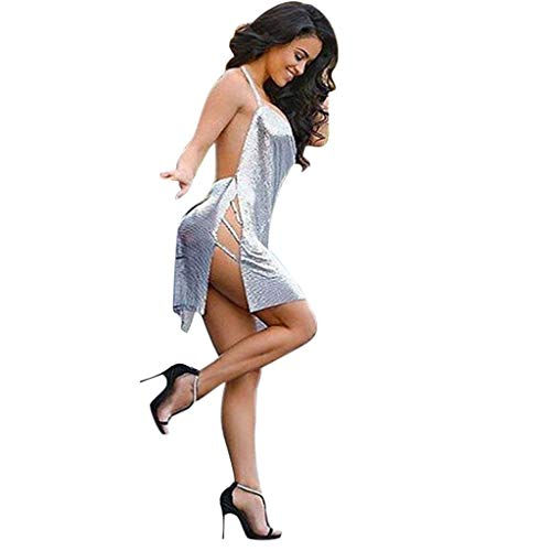 FEITONG Women's Sexy Long Sleeve Halter Cocktail Night Club Dress(Small,Silver) -